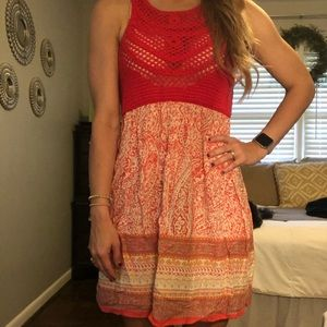 Altar'd State crochet coral red dress